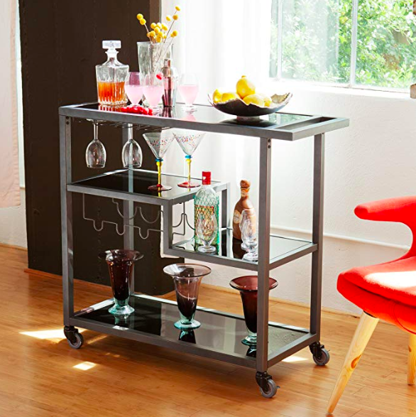a bar cart is one of the many unique wedding gifts to add to your registry